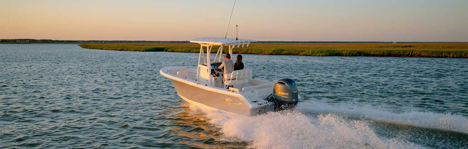 Sea Hunt center console at sunset